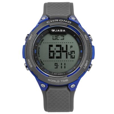 JAGA 捷卡 電子運動 倒數計時 計時碼錶 鬧鈴 防水100米 橡膠手錶-灰藍/48mm