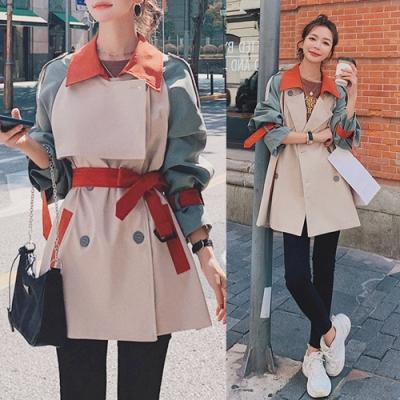【韓國K.W.】(預購)英倫風拼接撞色寬鬆風衣外套