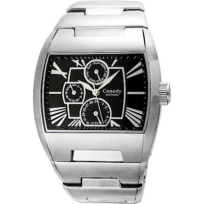 Canody 羅馬時尚三眼日期手錶(CM9806-A)-銀x黑/41mm