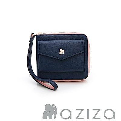 AZIZA  拉鏈短夾-藍