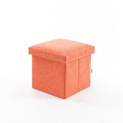 樂嫚妮 棉麻收納椅/穿鞋凳-15L-橘