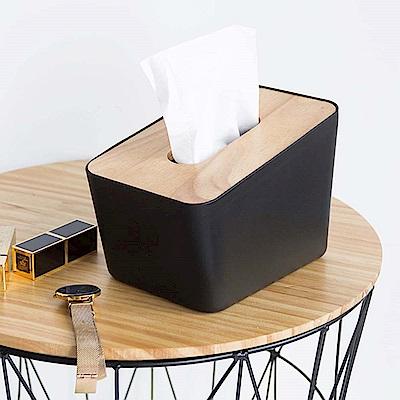 樂嫚妮 日式木紋抽取式面紙巾盒/衛生紙盒 直立式-黑