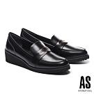 高跟鞋 AS 復古知性金屬釦牛皮樂福楔型高跟鞋-黑