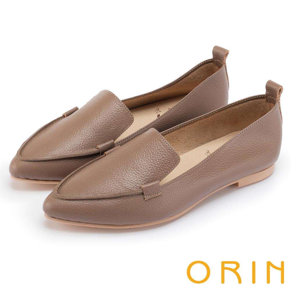 ORIN 優雅品味 柔軟牛皮素面尖頭樂福鞋-可可