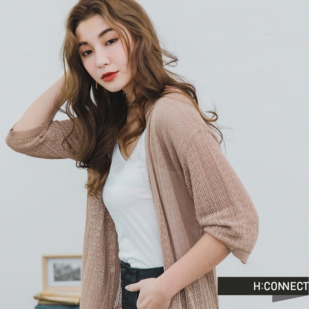 H:CONNECT 韓國品牌 女裝 -鏤空細針織罩衫-棕