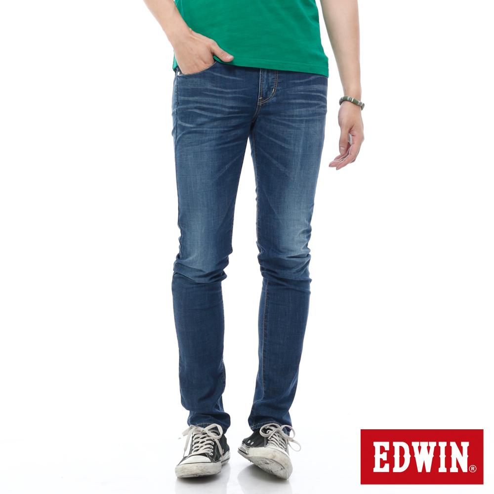 EDWIN 窄直筒 EDGE輕爽COOL牛仔褲-男-酵洗藍