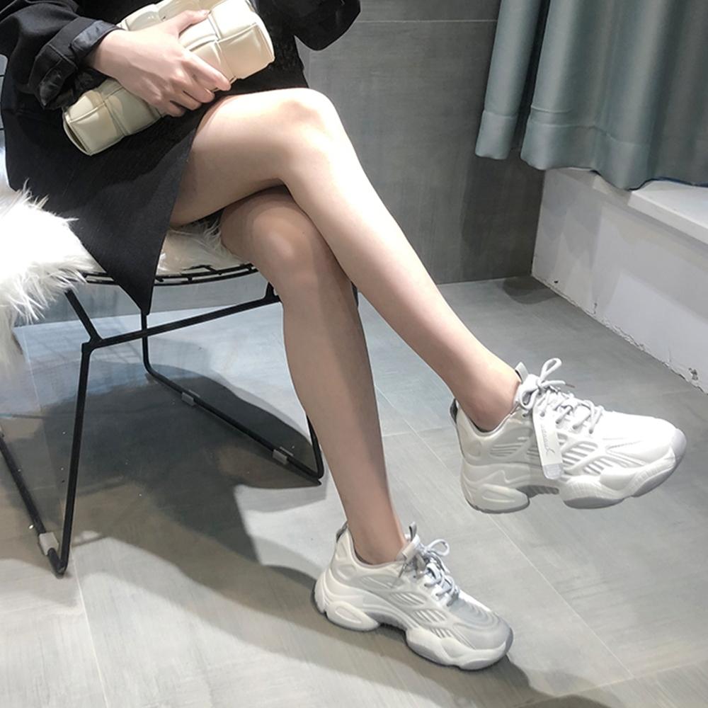 LN 現+預 網面透氣內增高厚底老爹鞋-2色 (白色)