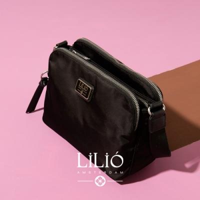 【LILIO】玄青_拉鏈式雙夾層斜背包_簡約生活_SOLID