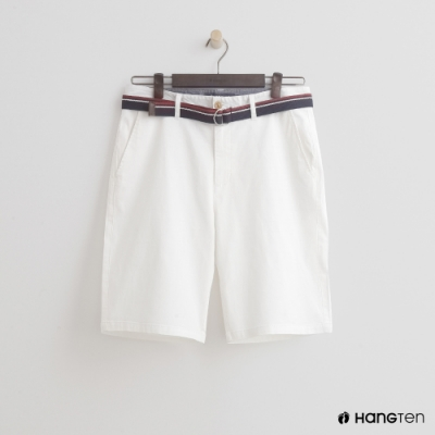 Hang Ten - 男裝 - 帆布腰帶造型西裝短褲-白