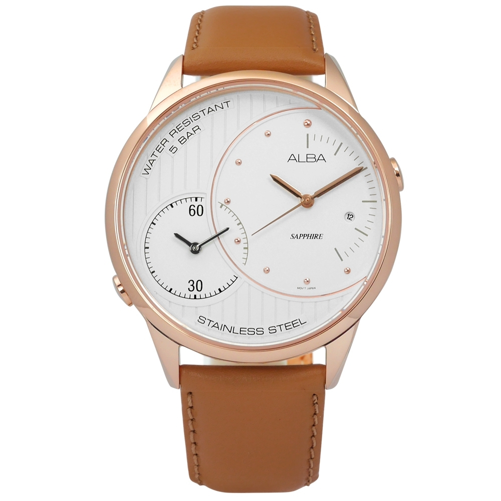 ALBA 日系潮流時尚日期藍寶石水晶玻璃牛皮手錶-白x玫瑰金框x褐/45mm