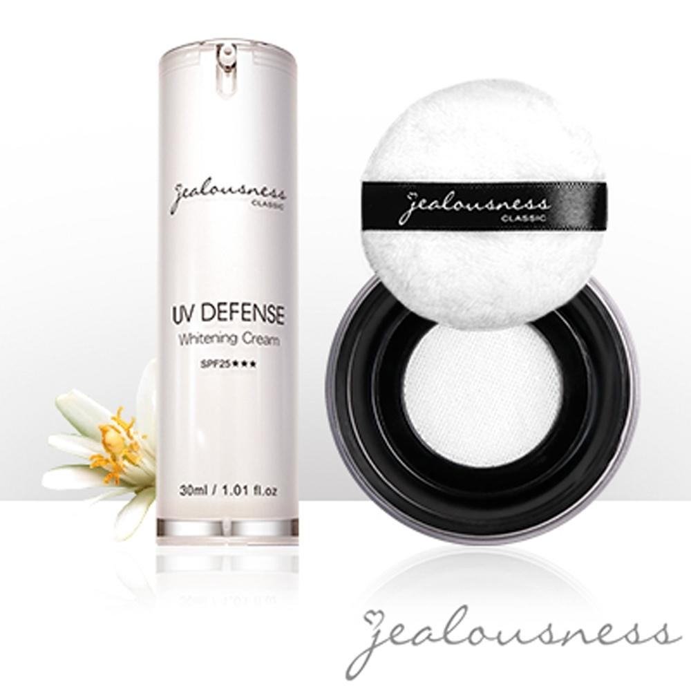 Jealousness婕洛妮絲 抗UV防曬素顏霜30ml+輕透白吸油蜜粉10g