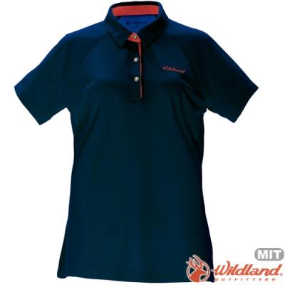 Wildland 荒野 0A71605-72深藍色 女涼感本布領短袖POLO衫