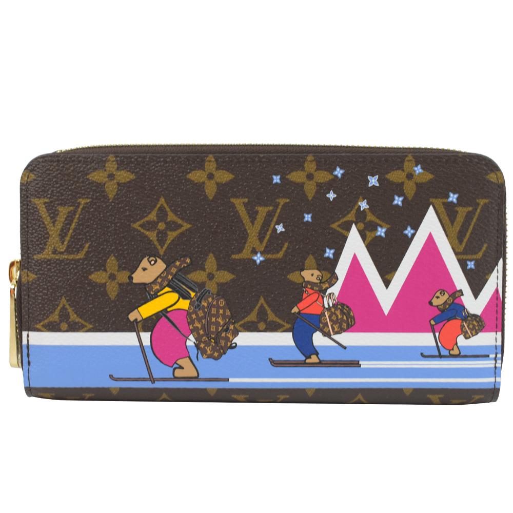 LV M63379 小熊滑雪經典花紋ㄇ字拉鍊長夾LV路易威登