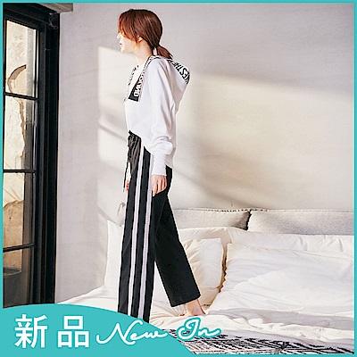 IREAL高腰排釦側銀聰織帶顯瘦休閒褲