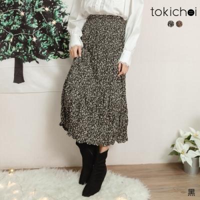 東京著衣 拒寒秘密碎花腰鬆緊磨毛內裡中長裙