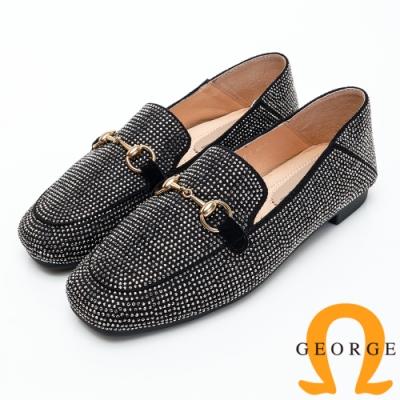 【GEORGE 喬治皮鞋】鉚釘釦飾方頭低跟包鞋-銀色