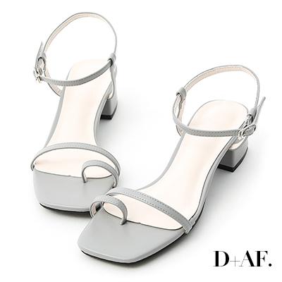 D+AF 繽紛涼夏.一字套指細帶中跟涼鞋*灰