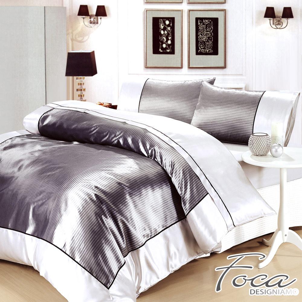 FOCA 格調灰-加大 四件式絲緞緹花薄被套床包組
