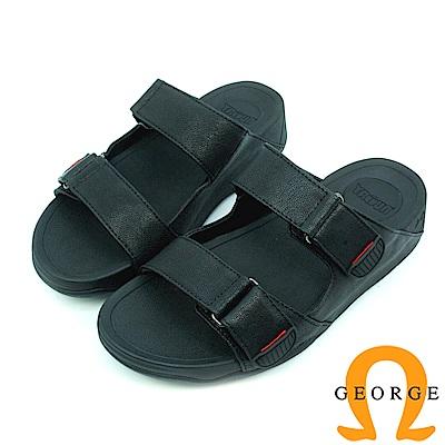 【GEORGE 喬治皮鞋】休憩系列 真皮平行涼鞋拖鞋-黑底