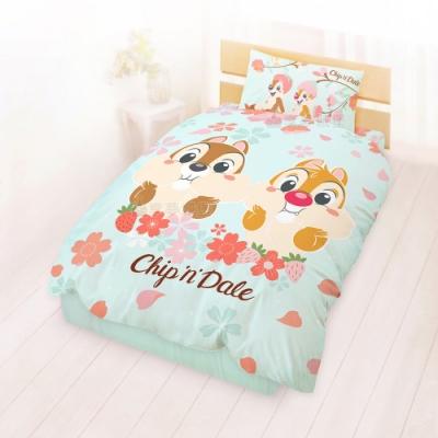 享夢城堡 單人床包雙人涼被三件組-奇奇蒂蒂 迪士尼櫻花季-藍綠