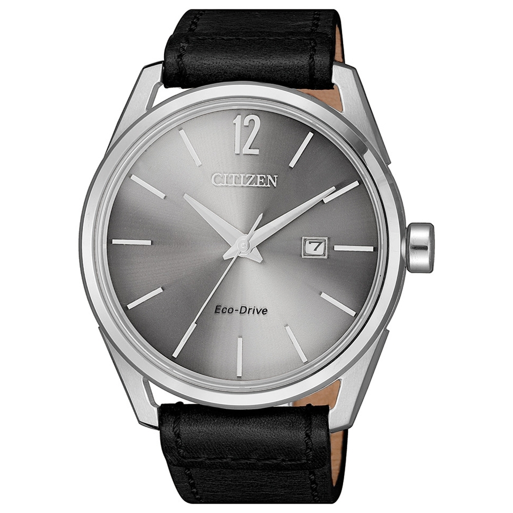 CITIZEN 星辰 光動能簡約都會紳士時尚男錶(BM7411-16A)-灰x黑/42mm