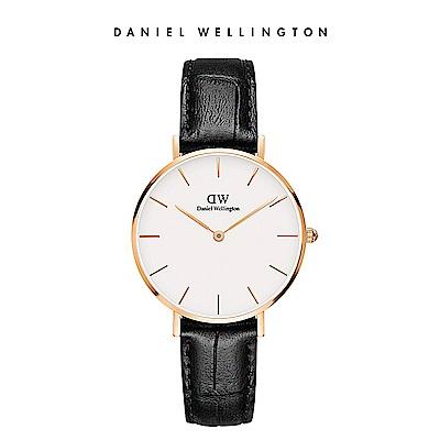 DW 手錶 官方旗艦店 32mm玫瑰金框 Petite 爵士黑真皮壓紋錶