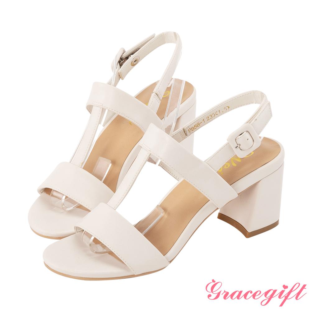 Grace gift X Wei-聯名鏤空T字方釦高跟涼鞋 米白