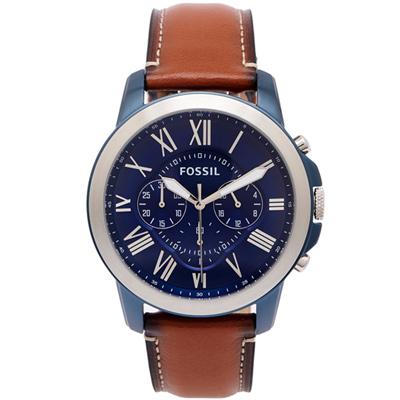 FOSSIL 羅馬優雅風計時的皮帶手錶(FS5151)-藍面X咖啡色/44mm