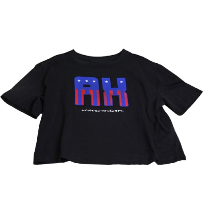 AX ARMANI EXCHANGE 立體星星AX字母LOGO薄棉質短袖女T恤(黑/L號)