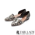 Fair Lady優雅小姐Miss Elegant動物皮紋拼接挖空低跟鞋 黑蛇紋