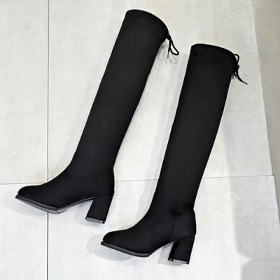 KEITH-WILL時尚鞋館韓新品凡桃俗李顯瘦機車過膝靴-黑色
