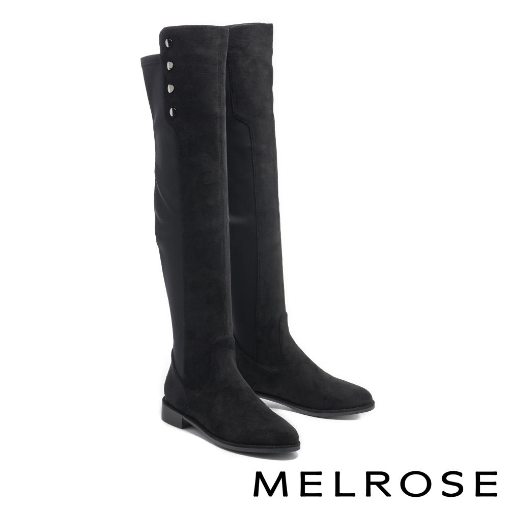 長靴 MELROSE 質感率性彈力布飾釦造型低跟過膝長靴-黑