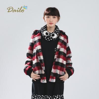 新降【Dailo】格紋刺繡鋪棉-外套(三色)