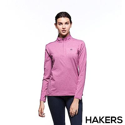 【HAKERS 哈克士】女 保暖立領半開襟排汗衣(櫻桃紫)