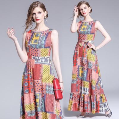 彩塊圖騰印花魚尾裙襬無袖長洋裝S-2XL-M2M