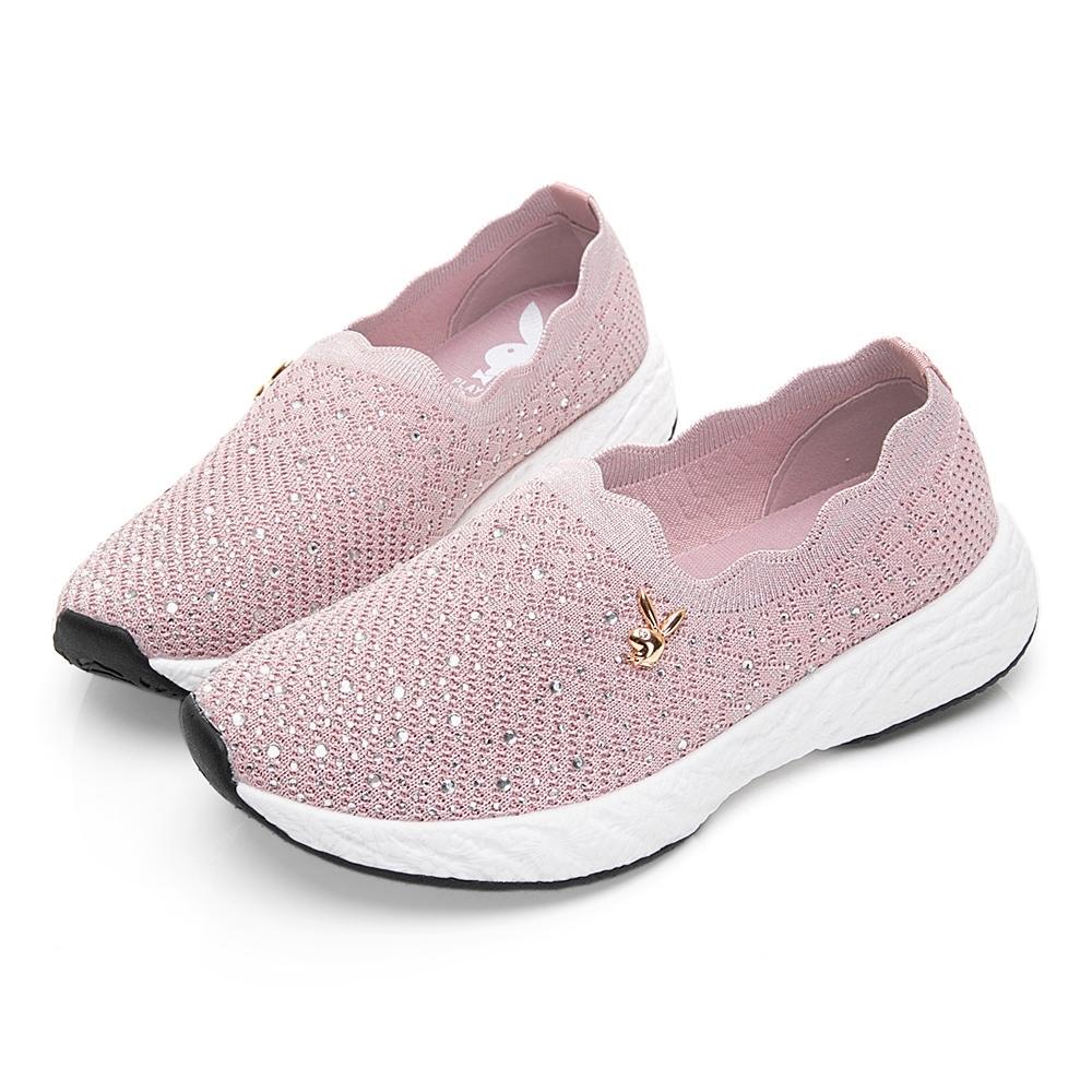 PLAYBOY 針織水鑽花邊懶人鞋-粉-Y572999