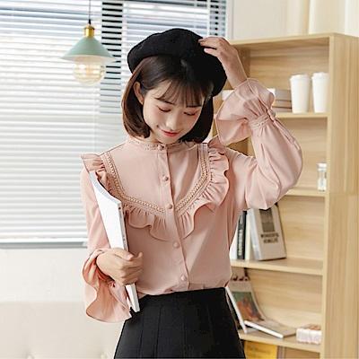 DABI 韓國風立領領娃娃衫襯衫荷葉邊長袖上衣