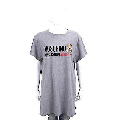 MOSCHINO Underbear 字母泰迪熊寶寶灰色棉質長版短袖T恤