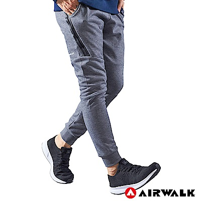 【AIRWALK】男款運動剪接長褲-中灰