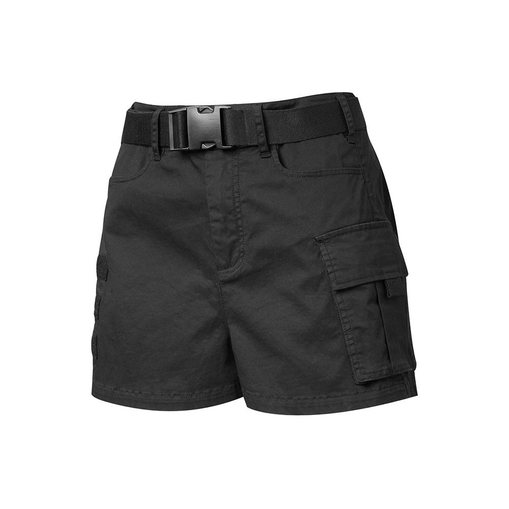 【PONY】口袋貼標工作短褲 女款 黑/卡其色
