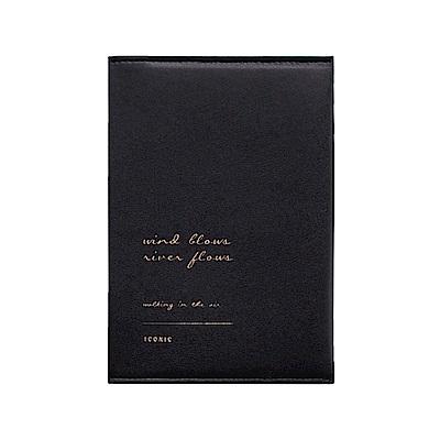 ICONIC 金釦對折護照短夾-氣質黑