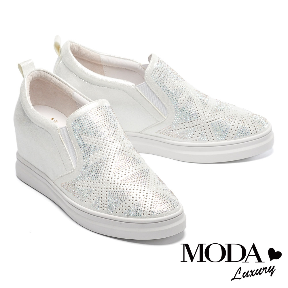 休閒鞋 MODA Luxury 迷人幾何排列水鑽內增高厚底休閒鞋-白