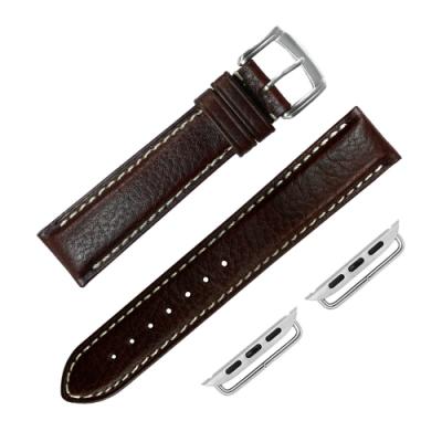 Apple Watch 蘋果手錶替用錶帶 蘋果錶帶 加長牛皮錶帶-棕色