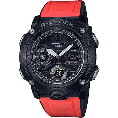 G-SHOCK 撞色戶外休閒穿搭運動錶(GA-2000-4E)-黑x橘/48.7mm
