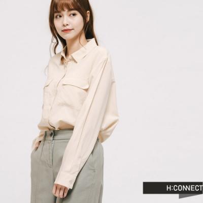 H:CONNECT 韓國品牌 女裝 - 純色雙口袋襯衫 - 卡其