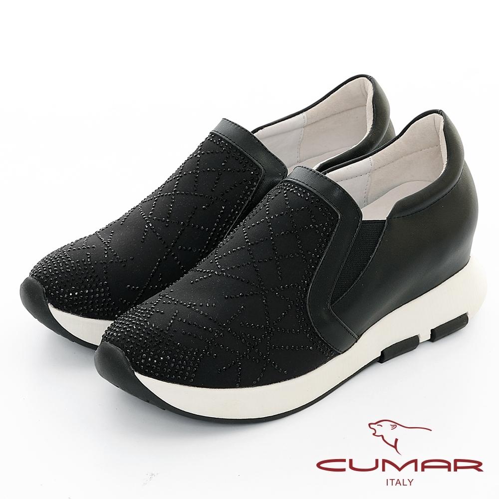 【CUMAR】休閒主義 - 線條鑽飾厚底休閒鞋-黑