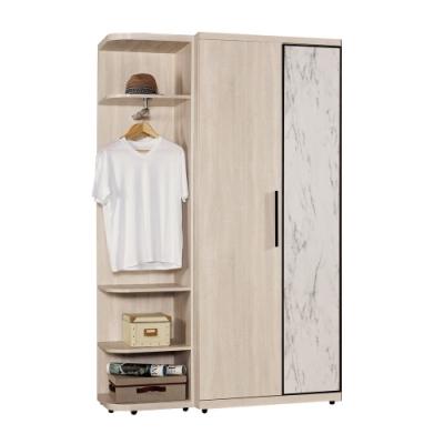 文創集 菲莉 現代4.2尺開門單抽衣櫃/收納櫃組合(衣櫃+側邊櫃)-127x57x202cm免組