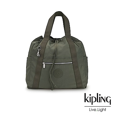 Kipling 歐風卡其墨綠兩用側背後背包-大-ART BACKPACK M