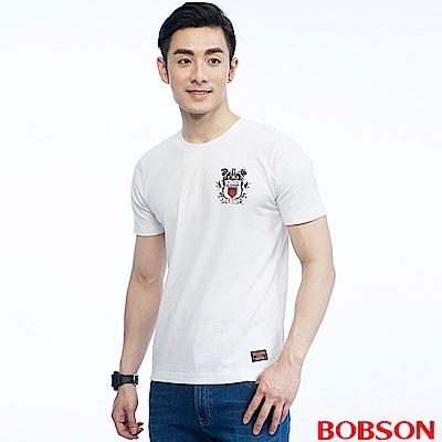 BOBSON  男款小徽章印圖上衣