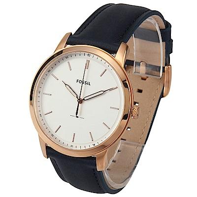 FOSSIL 極簡主義三針海軍藍皮革腕錶-(FS5371)-45mm